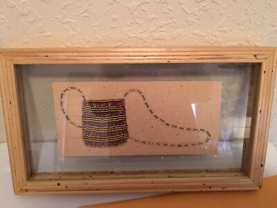 "Bamboo Framed Vintage Look Ladies Beaded Finger Purse Clutch 14"" x 8"""