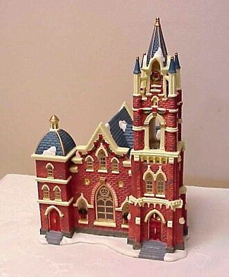 christmas village church ceramic steeple lighted owell 2008 worship 12 tall