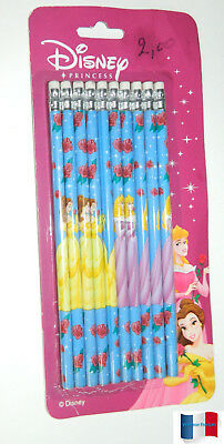 "Lot 10 Crayons A Papier Bout Gomme Disney ""princess""  Neuf"