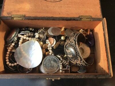 Antique And Vintage Job Lot Of Costume Jewellery Coins Cuff links