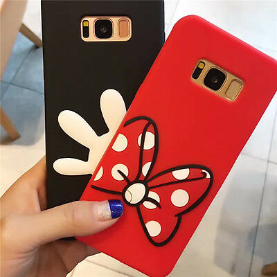 For Samsung Galaxy S9 S8 Plus S7 S6 Minnie Mickey Cartoon Rubber Soft Case Cover