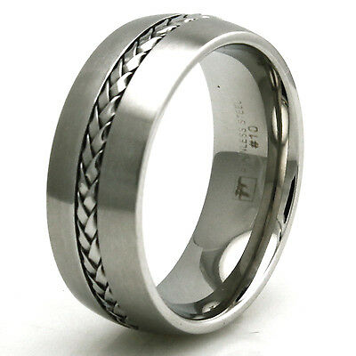 Stainless Steel Braided Rope Inlay Design Mens Biker Ring 8MM | FREE ENGRAVING
