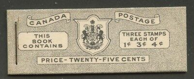 Canada 1950 KGVI Type I 7c & 5c rates 'Bubble Gum' Booklet  English BK43a VF
