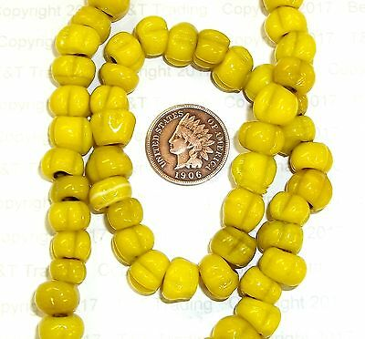 """{ 50 } Mustard Antique Native American Trade """" Berry """" Trading Post Beads"""