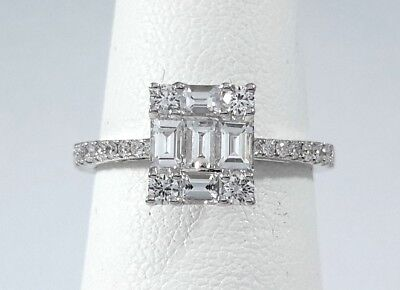 "0.68ct DIAMOND White GOLD ""Solitaire with Accents"" Ring - R9789"