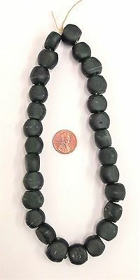 1650 - 1770 Rock Island Site Antique Dk Bottle Green Trade Beads     BIN D