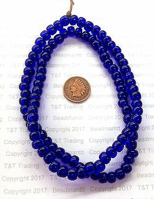 Antique Native American style Cobalt wire wound Dutch Crow Beads  T2588