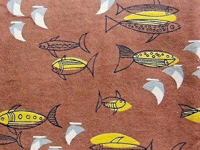 "1 Yard 1950s Vintage RETRO ATOMIC NOVELTY FISH FLANNEL Cotton Fabric, 35"" Wide"