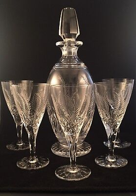 Stuart Crystal ELLESMERE Cut Wine Decanter And 5 Wine Glasses