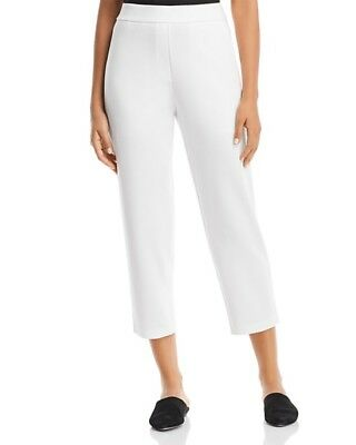 NWT Eileen Fisher White Tencel Blend Cropped Straight Legged Pants $248  M  L