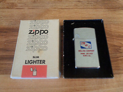 VINTAGE 1975 ZIPPO Lighter M & C Drilling Co. Olney, IL. w/Box Advertising