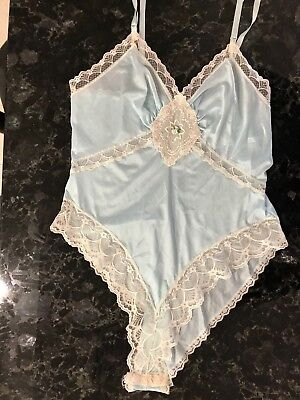Vintage 70s 80s Teddy Satin & Lace Blue Romper Size Small French High Cut USA
