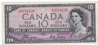 1954 Bank of Canada Devil's Face $10 Bank Note - Coyne / Towers