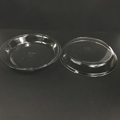 """Set of 2 Pyrex Pie Plates 9"""" 209 Pan Dish Oven Baking 1 Vintage Clear Glass"""