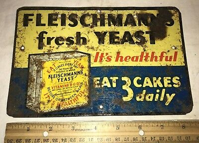 Antique Fleishmanns Yeast Tin Litho Sign Vintage Baking Country Grocery Store