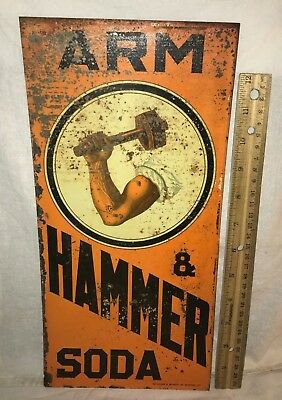 Antique Arm & Hammer Soda Vintage Tin Litho Baking Sign Country Grocery Store