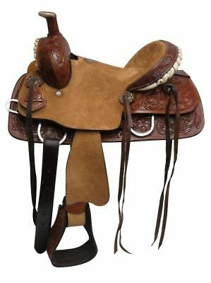 """12"""" Double T Youth Hard Seat Roper Style Saddle With Floral Tooled Leather!"""