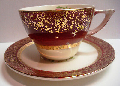 Encrusted Gold - Aristocrat - Burgundy - Cup and Saucer - Century by Salem - 23K