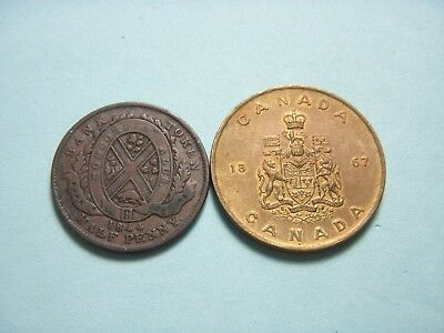 1844 Half Penny And 1867 Old Canada Token.#13