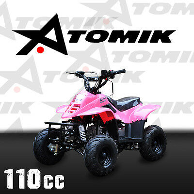 New Atomik Raider 110Cc Atv Quad Dirt Motor Trail Bike 4 Wheeler Mx Motorcross