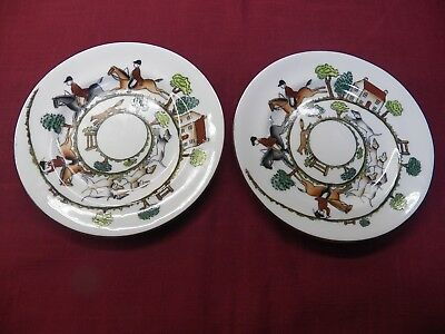 """Pair Of Vintage Crown Staffordshire Hunting Scene Bread Plates 6 1/4"""""""