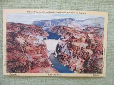 Vintage Post Card Linen BOULDER DAM and POWERHOUSE FORTIFICATION MOUNTAIN
