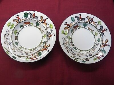 Pair Of Vintage Crown Staffordshire Hunting Scene Bowls 7 1/4""