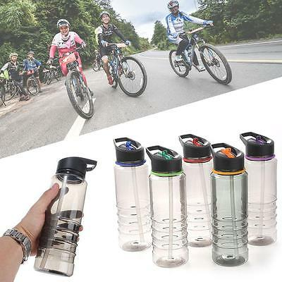 Flip Straw Drink Sport Hydration Water Bottle Cycling Hiking BPA Free Durable^FZ