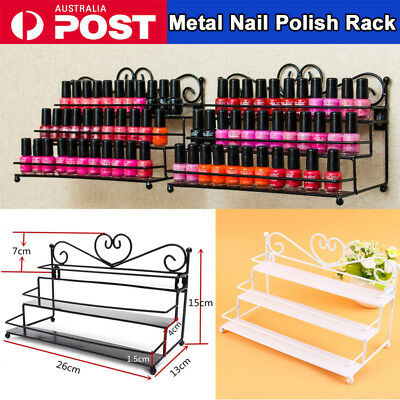 3-Tier Metal Nail Polish Cosmetic Display Wall Rack Table Top Organizer Holder