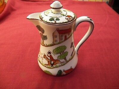 """Vintage Crown Staffordshire Hunting Scene Milk/syrup  Pitcher With Lid 5 1/4"""""""