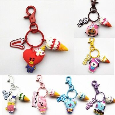Kpop BTS BT21 Cartoon Key Chain Acrylic Keyring Bag Pendant Ice Cream TATA COOKY