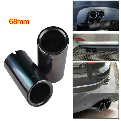 Black Stainless Steel Exhaust Muffler Tail Pipe 68mm for VW Jetta Polo 6R Golf 7