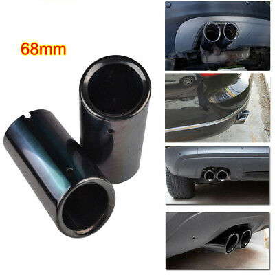 Black Stainless Steel Exhaust Muffler Tail Pipe 68mm for VW Tiguan II 2017-18