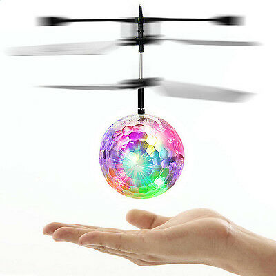 Magic Electric Flying Ball Helicopter Infrared Sensor LED Light Toys Kids Gifts