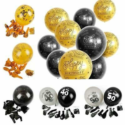 10PCS Happy Birthday Gold&Black Balloon Printed Age Number Birthday Party Decor
