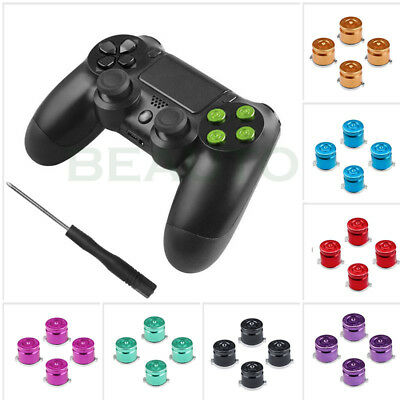 4x Aluminum Metal Bullet Buttons ABXY Kit For Playstation 4 PS4 Controller