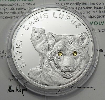 20 Rubel 2007 - Weißrussland -  Canis Lupus / Wolf in Proof - 1 oz Ag