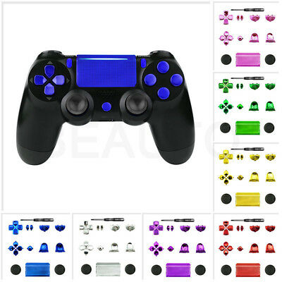Chrome Solid Set Buttons Thumbsticks Repair Parts for Dualshock 4 PS4 Controller