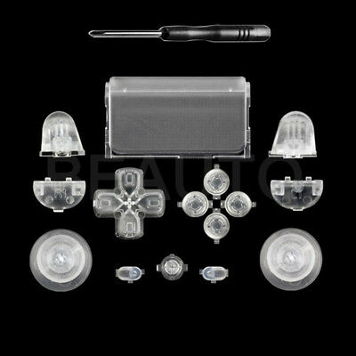 Full Buttons Set for Sony PS4 Controller Replacement Parts Transparent Color