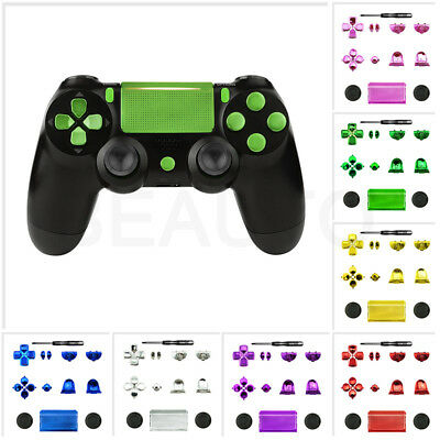 Solid Chrome Full Set Buttons Replacement Mod Parts Kit for Sony PS4 Controller