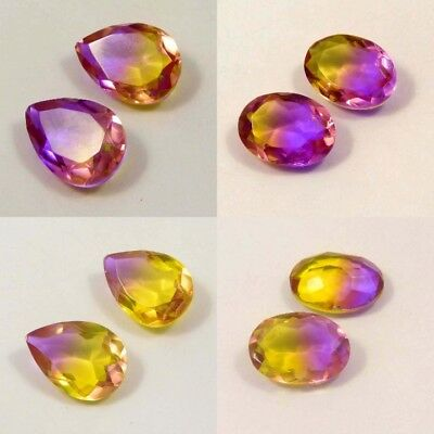Natural Faceted Pear & Oval Shape Pair 17x11mm Ametrine Gemstone NM13510-13536