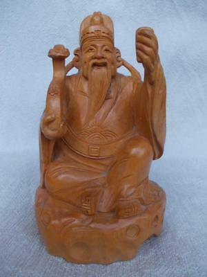 354 / Mid 20Th Century Chinese Hand Carved Sandalwood Figure Of A Wise Man
