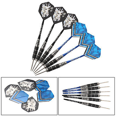 6 X Stainless Steel Tip Darts Premium 22g Chrome-plated Brass With Nice Carving