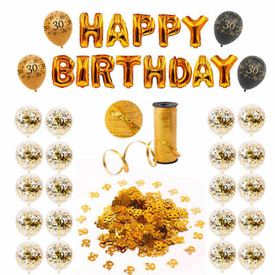 Happy Birthday Party Supply Gold Confetti Balloon Set Hanging Decoration Supplie