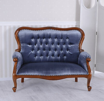 Sofa Antik Couch Samt Sofabank Sitzbank Mahagoni Polstersofa Chippendale Diwan