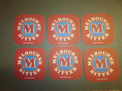 """6 x MELBOURNE BITTER recent issue  Beer Coasters """"hard to find"""""""