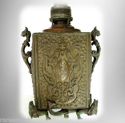 Vintage Asian oriental bronze or metal temple oil lamp - dragons -