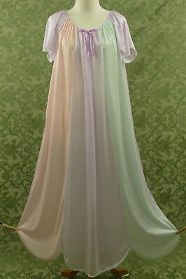 Vintage Lady Camille Size Large Nightgown Pastel Colors Semi Sheer Nylon Chiffon
