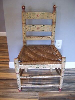 Vintage Painted Ladder Back Wooden Chair Rush Seat