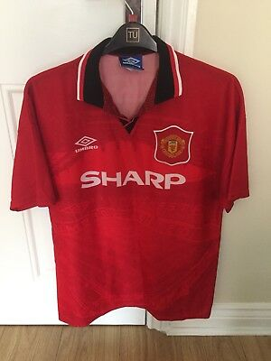 cd44b220fd0 MANCHESTER UNITED VINTAGE UMBRO 1994 - 1996 HOME SHIRT Large (Beckham 24)